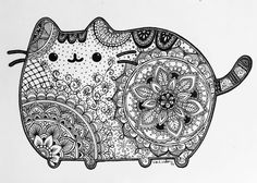 Sugar skulls and Pusheen. Day of the Dead Pusheen Fan Art Pusheen Coloring Pages, Colouring Pages, Adult Coloring Pages, Coloring Books, Mandala Coloring, Chat Pusheen, Pusheen Love, Mandalas Drawing, Zentangles