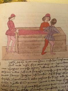 """Trattato dell'arte della seta, cap. 64 cc. 39r-40r fig. 41 """"Della piegatura de' drappi"""" Firenze, 15th Century, Farming, Fig, Spinning, Weaving, Geek Stuff, Textiles, Europe"""