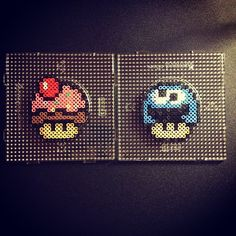 Nintendo mushrooms perler beads by sajagee