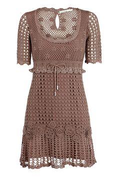 Crochetemoda: Vestido Marrom de Crochet
