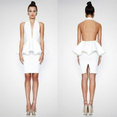 Herve Leger White Peplum Deep V Neck Bandage Dress