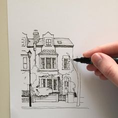 "2,962 Likes, 17 Comments - Phoebe Atkey (@phoebeatkey) on Instagram: ""#art #drawing #pen #sketch #illustration #linedrawing #architecture #house #building"""