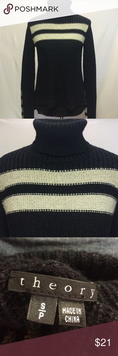 Theory Sweater Beautiful Black and Off White wool/silk blend turtleneck sweater Theory Sweaters Cowl & Turtlenecks