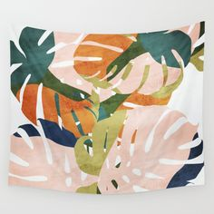 Monstera Delight Wall Hanging Tapestry by Grace - Small: x Textile Patterns, Print Patterns, Textiles, Tapestry Wall Hanging, Art Paintings, Vector Art, Pattern Design, Illustration Art, Palette