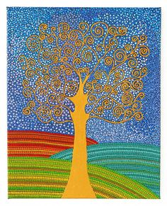 Tree of Life painted by Melinda Tamas, dot painting, acrylic on canvas, 40 x 50 cm