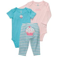 """Carter's Girls 3 Piece Cupcake Turn Me Around Set with Long Sleeve Bodysuit, Short Sleeve Bodysuit, and Pant - Carters - Babies """"R"""" Us"""