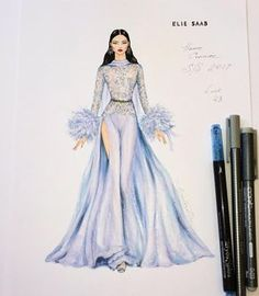 """The illustration's inspired by glamorous silk chiffon and feathers jumpsuit @ElieSaabWorld ✨ of…"""""""