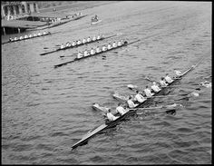Harvard shells on the Charles Row Row Your Boat, Row Row Row, Rowing Crew, Boston Public Library, Harvard, Canoe, Vintage Images, Explore, Black And White
