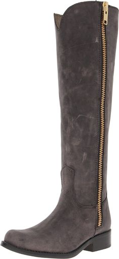 Steve Madden Women's Ruse Riding Boot,Black Leather,5.5 M US