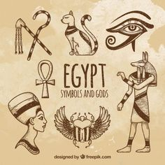 Hand drawn egyptian gods and symbols collection Free Vector Egyptian Flag, Egyptian Symbols, Egyptian Goddess, Ancient Egyptian Art, Lechuza Tattoo, Ancient Egypt Hieroglyphics, Egyptian Tattoo Sleeve, Egyptian Drawings, Magick Book