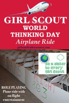 World Thinking day Airplane ride is a great way to start your Thinking Day event. Create on flight entertainment and use script for your next event.