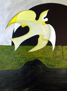 Bird over Green  60cm x 80cm  Acrylic on canvas