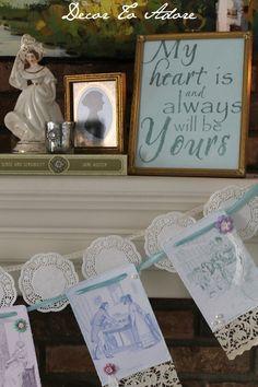 Jane Austen inspired garland, banner, Valentine decor, Mr. Darcy, Elizabeth Bennet, romantic, Decor To Adore