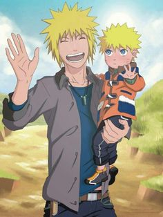 Minato and Naruto *cries forever* Love this so much! Although Minato having the 1st Hokage's necklace makes zero sense.