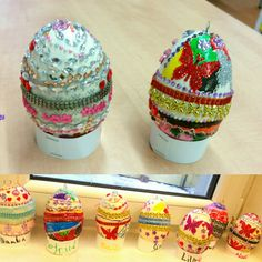 Easter 'Faberge' egg craft for 6-7-year-olds. Styrofoam eggs, acrylic paint, acrylic varnish (prep work by adult), stick-on rhinestones, lace, multi-purposr markers (free work by children).
