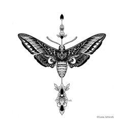 Image of Lunar Moth Black Tattoos, Body Art Tattoos, New Tattoos, Tatoos, Moth Tattoo Design, Tattoo Designs, Lunar Moth Tattoo, Tatto Old, Tatuagem Old School