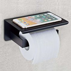 Nolimas Matte Black Toilet Paper Holder with Shelf, Stainless Steel Bathroom Square, Modern Anti Rust Wall Mounted Tissue TP Roll Dispenser Plus Cell Mobile Phone Storage Rack Black Toilet Paper Holder, Recessed Toilet Paper Holder, Toilet Roll Holder, Minimalist Toilets, Paper Roll Holders, Storage Rack, Bathroom Inspiration, Bathroom Ideas, Bathroom Accessories
