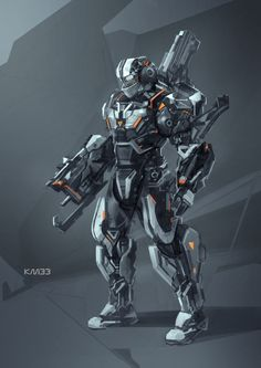 """Centurion by KM33   Author's note: """"A week holiday finally :) Dead Space and mass effect inspired""""   Sci-fi mechanized soldier suit robotics"""
