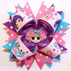 """4"""" Lalaloopsy Inspired Hot Pink Purple Blue Stacked Hair Bow"""