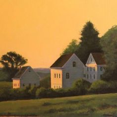 Two Barns in Groton #2: contemporary, fine art, realism painting on that measures 16 x 20 x 1 inches, by artist Douglas H. Caves Sr., from 2013