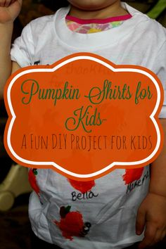 Pumpkin Shirts for Kids is a fun & sort of simple DIY that reminds kids to be thankful. Diy Projects For Kids, Diy For Kids, Crafts For Kids, Autumn Activities For Kids, Craft Activities, Cute Halloween, Halloween Crafts, Autumn Crafts, Kids Corner