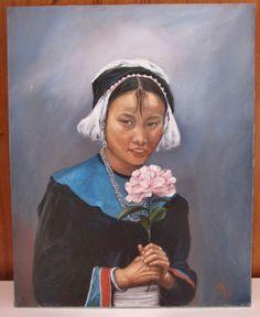 GEORGINA ADAMS oil Painting Ethnic Akha Asian GIRL Portrait American Listed vintage #Realism