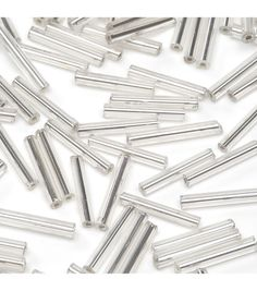 Glass Bugle Beads-Silver, Silver Lined,1/2 inch long.