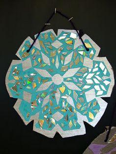 recycled CD snowflake mosaics