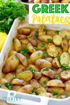 Greek Little Potatoes Greek Potatoes recipe from The Country Cook Greek Potatoes, Little Potatoes, Cook Potatoes, Seasoned Potatoes, Baby Potatoes, Potato Sides, Potato Side Dishes, Parmesan, Side Dishes