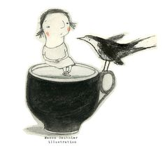 A cup of tea, a call from a friend, and Elizabeth Gilbert. Manon Gauthier is the featured illustrator. Look for links on my blog to buy her postcards (I did!), prints and originals. One of my favorite artists.