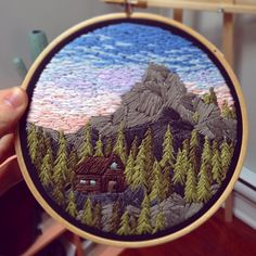 Mountain Cabin • 6 inch • SOLD • • • #embroidery #embroidered #embroideryart #embroideryhoop #embroideryhoopart #embroideryinstaguild #embroideryartist #needlepoint #etsy #etsyfinds #etsyshop #landscape #dmc #mountains #cabin #cabinporn #vanlife #explore #nature #makersgonnamake #handmade #makersmovement #wallhanging #homedecor #oneofakind #artstagram #instagood #instaart #photooftheday