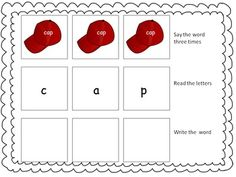 Phonics Phonemic  Awareness CVC words  say the word three times read the word write the word mat    hat    cap    bat    can    fanpen    bed    ten    net    web    henpin    six    pig    zip    fin    lip pot    mop    top    log    fox    dot bus    nut    sun    cup    rug    bun 30 picture cards with words on the cards, full size page for centers. phonics phonemic awareness
