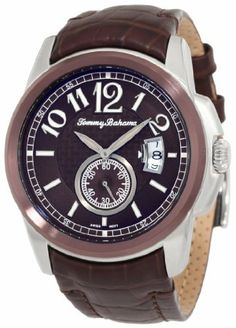 Tommy Bahama Swiss Men's TB1193 Cabo Round Field Case Sub Second Hand Watch Tommy Bahama Swiss. $162.50. Stainless steel case and stainless steel caseback. Stationary bezel with tobacco brown dial. Swiss Quartz 3-hand analog movement with second sub-dial and big date. Very high quality dark brown croco grain leather strap; 5-year limited warranty. Water-resistant to 165 feet (50 M). Save 50%!
