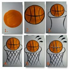 Easy step by step instructions for how to paint a basketball with a hoop for cheek art. Great for school carnivals, sporting events, or sport themed parties. By Fancy Faces of Rochester.