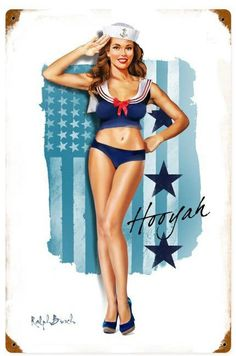Navy Girl  Metal Sign 12 x 18 Inches, $29.98 #vintage #retro #nostalgia #tinsign #homedecor #pinup