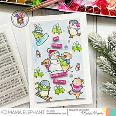 mama elephant | design blog: STAMP HIGHLIGHT: Easy Xmas Greetings Holiday Messages, Holiday Cards, Mama Elephant Stamps, Girl Gnome, Xmas Greetings, Snow Much Fun, Santa Sleigh, Elephant Design, Watercolor Cards
