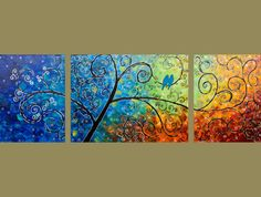 """""""Tree of Life"""". Original Heavy Texture Impasto Painting on Stretched Canvas."""