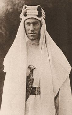 """T.E. Lawrence C.B.,DSO. 1888 - 1935 British archeologist and Army officer noted for his liaison role during Sinai + Palestine Campaign + Arab Revolt against Ottoman Turkish rule  1916/1918. Won international fame as Lawrence of Arabia. Wrote """"Seven Pillars of Wisdom"""" about his exploits."""