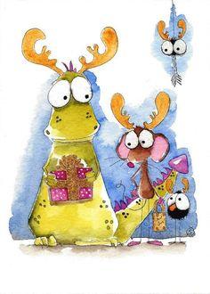 Original watercolor painting Dragon mouse bird crow spider reindeer #IllustrationArt