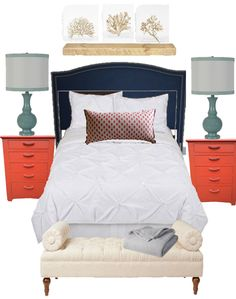 Birch Grove Interiors, Navy and coral bedroom, coral pillow, aqua lamps, coral table, white comforter, navy headboard