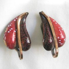 Vintage Copper and Red Enameled Earrings signed Renoir MATISSE by MyVintageJewels, $20.00