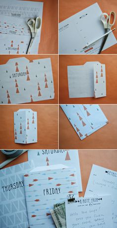 days of the week (printable) While we're away bags....so fun for the kids to open an envelope each day with a note from mom and dad in it.!