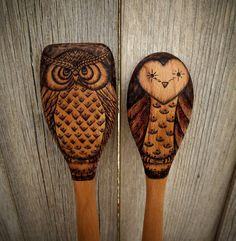 Wood burned Owl spoons set of 2 by littlesisterscrafts on Etsy, $35.00