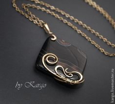Wire wrapped pendant by kargo.livemaster.ru