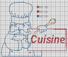 cuisine - kitchen - chef - point de croix-cross stitch - broderie-embroidery- Blog : http://broderiemimie44.canalblog.com/