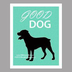 Rottweiler Dog Art Print Dog Print Dog Poster by PawsomeArtDesigns, $11.99