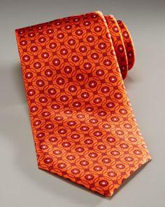 Tonal Medallion Tie, Orange by Brioni at Bergdorf Goodman.