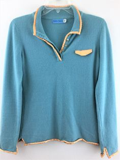 Dakota Martin Women Cashmere Sweater Blue Pullover Yellow Satin Trim Flaw at Hem #DakotaMartin #Henley