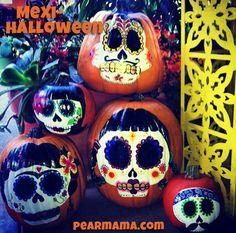 Mexi-Halloween: Sugar Skull Pumpkins - Pearmama