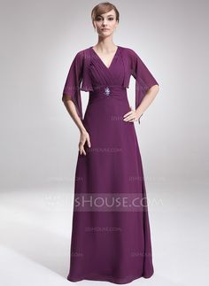 A-Line/Princess V-neck Floor-Length Chiffon Mother of the Bride Dress With Ruffle Beading (008006189)